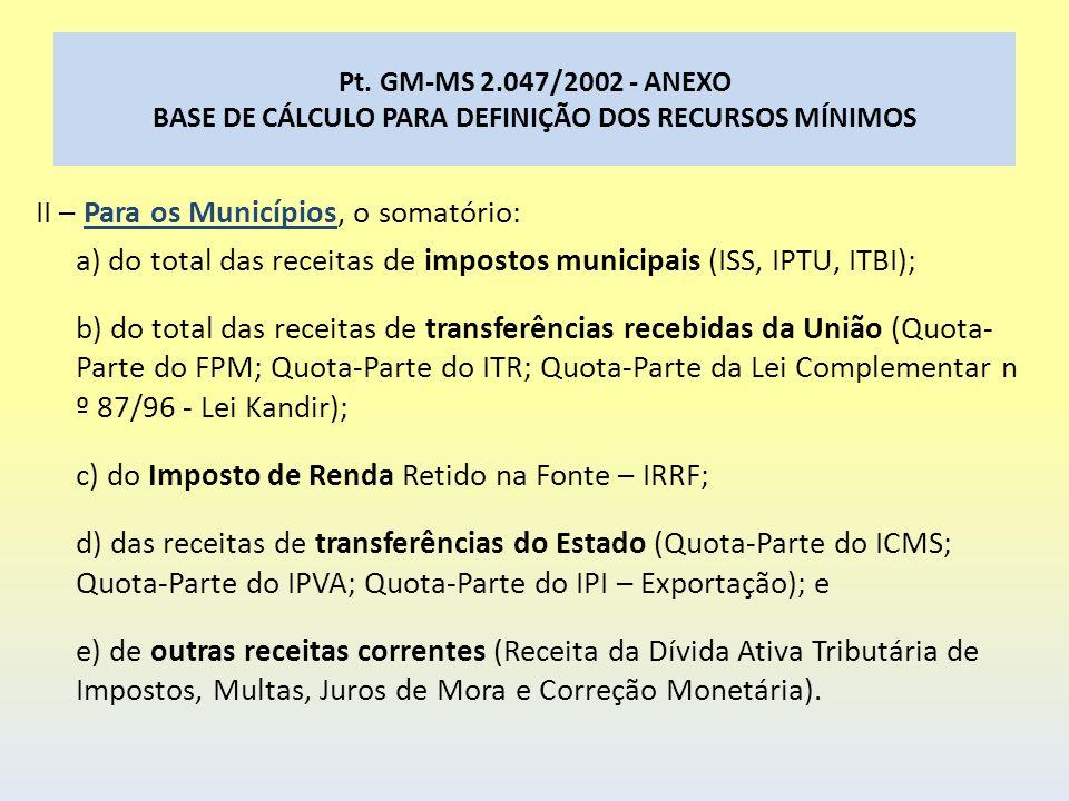 Pt. GM-MS 2.047/2002 - ANEXO BASE DE CÁLCULO PARA DEFINIÇÃO DOS RECURSOS MÍNIMOS II – Para os Municípios, o somatório: a) do total das receitas de imp
