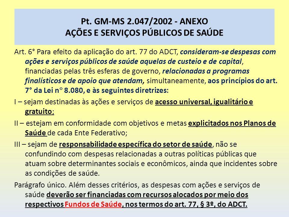Pt. GM-MS 2.047/2002 - ANEXO AÇÕES E SERVIÇOS PÚBLICOS DE SAÚDE Art. 6° Para efeito da aplicação do art. 77 do ADCT, consideram-se despesas com ações