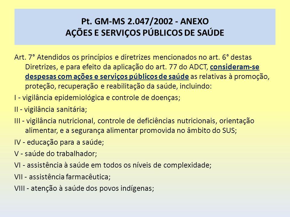 Pt. GM-MS 2.047/2002 - ANEXO AÇÕES E SERVIÇOS PÚBLICOS DE SAÚDE Art. 7° Atendidos os princípios e diretrizes mencionados no art. 6° destas Diretrizes,