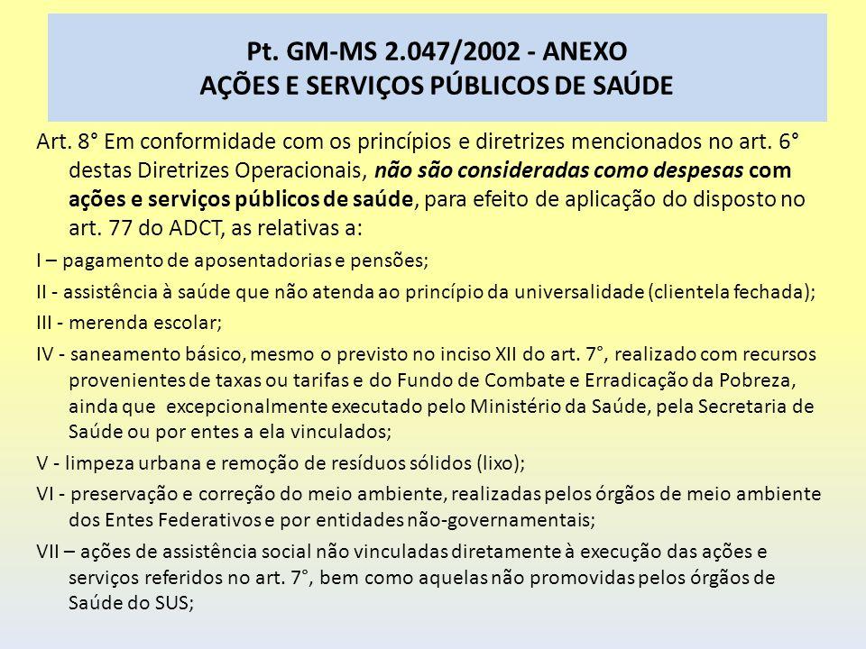 Pt. GM-MS 2.047/2002 - ANEXO AÇÕES E SERVIÇOS PÚBLICOS DE SAÚDE Art. 8° Em conformidade com os princípios e diretrizes mencionados no art. 6° destas D