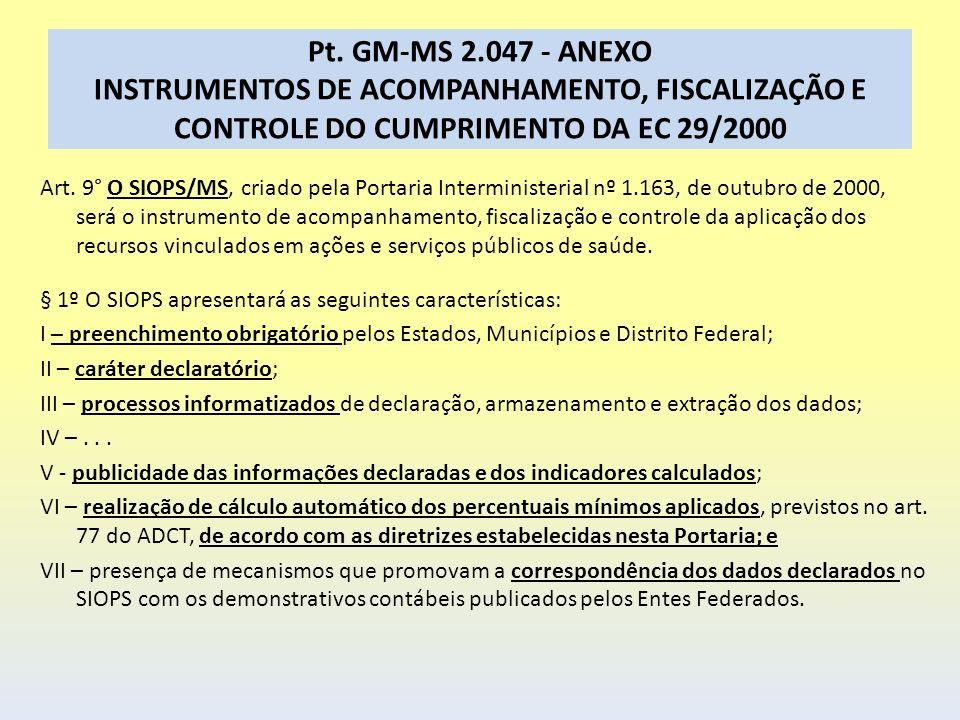Pt. GM-MS 2.047 - ANEXO INSTRUMENTOS DE ACOMPANHAMENTO, FISCALIZAÇÃO E CONTROLE DO CUMPRIMENTO DA EC 29/2000 Art. 9° O SIOPS/MS, criado pela Portaria