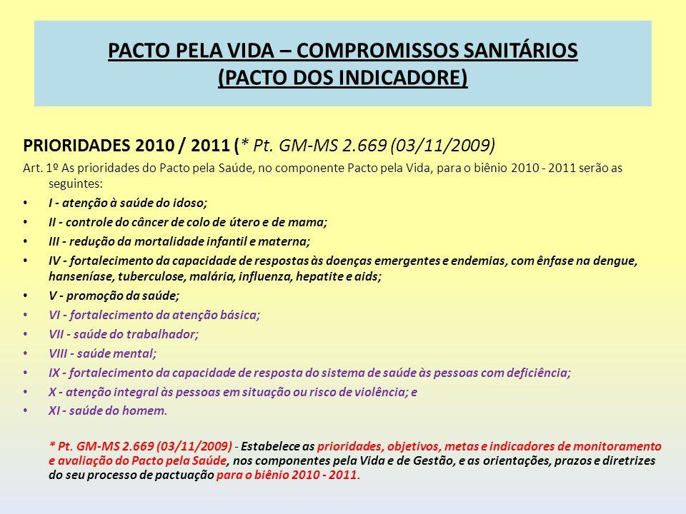 PACTO PELA VIDA – COMPROMISSOS SANITÁRIOS (PACTO DOS INDICADORE) PRIORIDADES 2010 / 2011 (* Pt. GM-MS 2.669 (03/11/2009) Art. 1º As prioridades do Pac