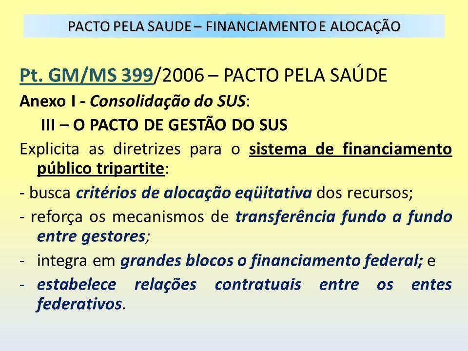 PACTO PELA SAUDE – FINANCIAMENTO E ALOCAÇÃO Pt. GM/MS 399/2006 – PACTO PELA SAÚDE Anexo I - Consolidação do SUS: III – O PACTO DE GESTÃO DO SUS Explic