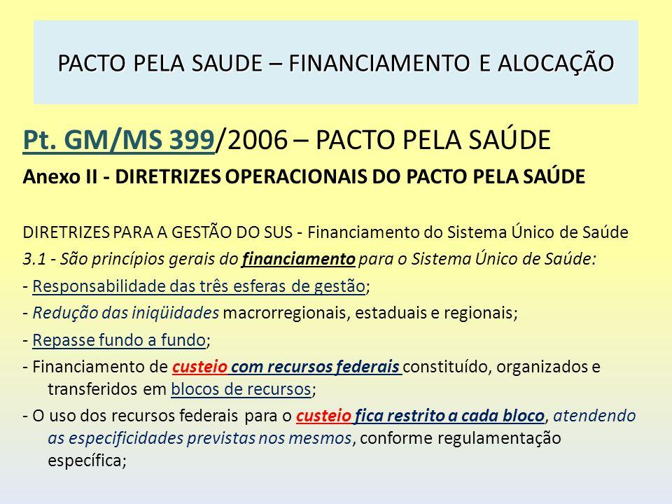 PACTO PELA SAUDE – FINANCIAMENTO E ALOCAÇÃO Pt. GM/MS 399/2006 – PACTO PELA SAÚDE Anexo II - DIRETRIZES OPERACIONAIS DO PACTO PELA SAÚDE DIRETRIZES PA