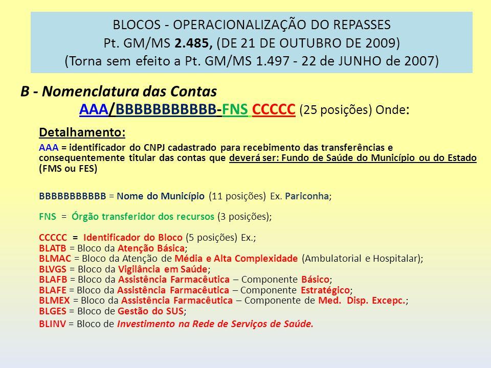 BLOCOS - OPERACIONALIZAÇÃO DO REPASSES Pt. GM/MS 2.485, (DE 21 DE OUTUBRO DE 2009) (Torna sem efeito a Pt. GM/MS 1.497 - 22 de JUNHO de 2007) B - Nome