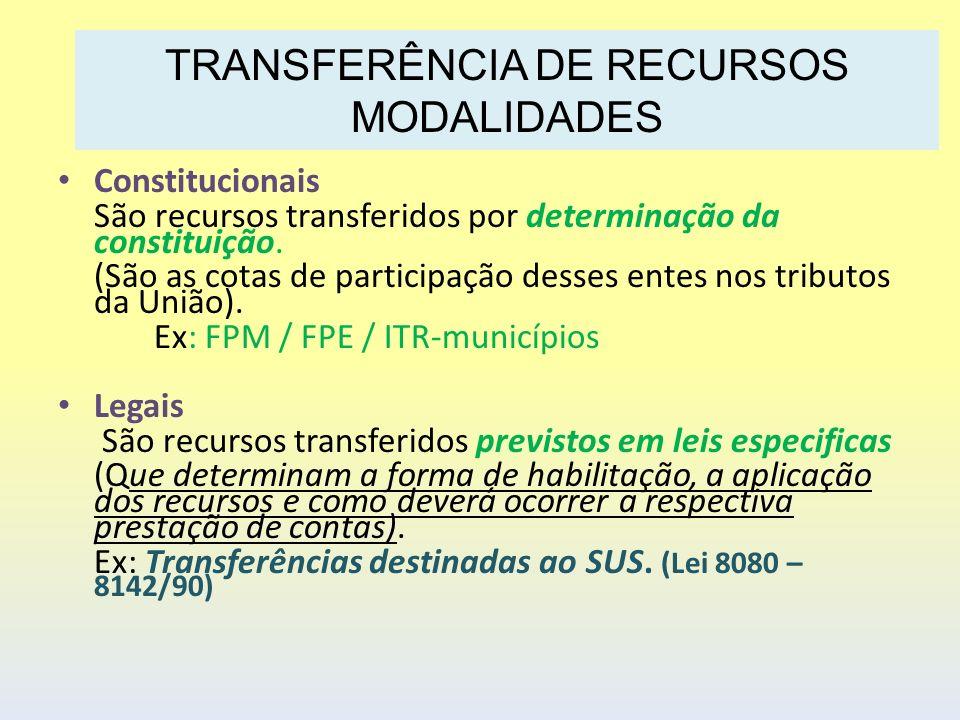Constitucionais São recursos transferidos por determinação da constituição. (São as cotas de participação desses entes nos tributos da União). Ex: FPM