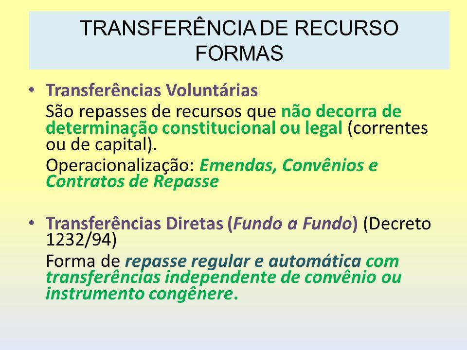 Transferências Voluntárias São repasses de recursos que não decorra de determinação constitucional ou legal (correntes ou de capital). Operacionalizaç