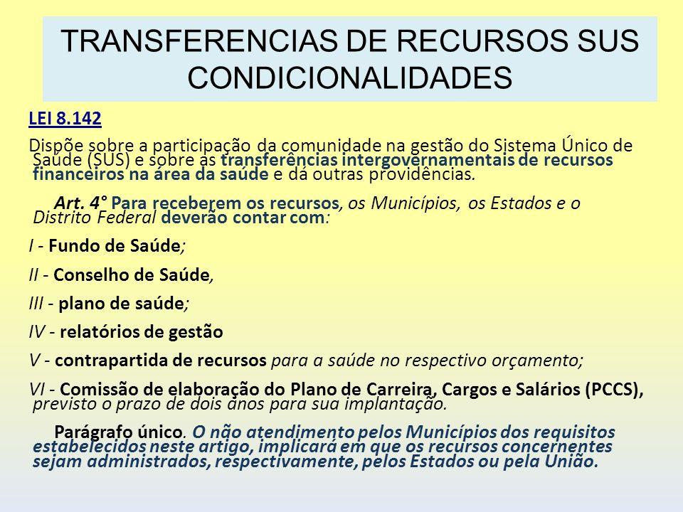 LEI 8.142 Dispõe sobre a participação da comunidade na gestão do Sistema Único de Saúde (SUS) e sobre as transferências intergovernamentais de recurso