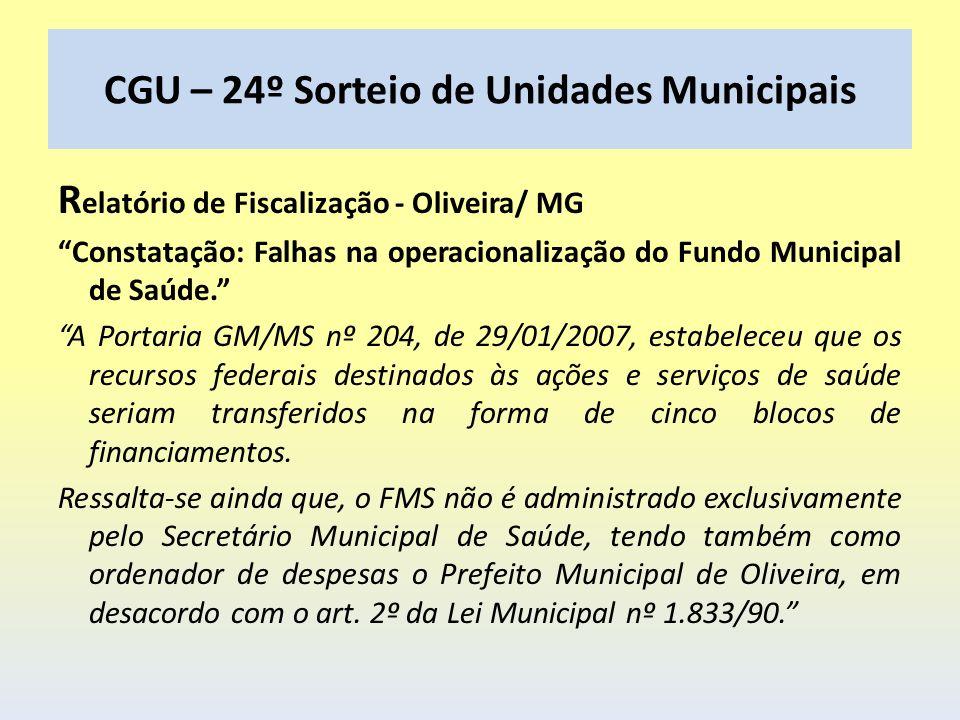 CGU – 24º Sorteio de Unidades Municipais R elatório de Fiscalização - Oliveira/ MG Constatação: Falhas na operacionalização do Fundo Municipal de Saúd