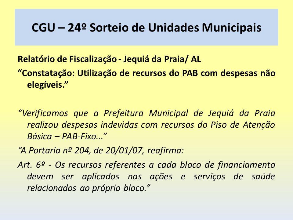 CGU – 24º Sorteio de Unidades Municipais Relatório de Fiscalização - Jequiá da Praia/ AL Constatação: Utilização de recursos do PAB com despesas não e