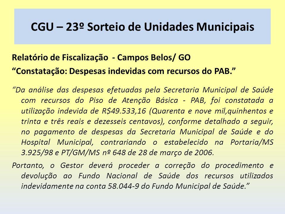 CGU – 23º Sorteio de Unidades Municipais Relatório de Fiscalização - Campos Belos/ GO Constatação: Despesas indevidas com recursos do PAB. Da análise