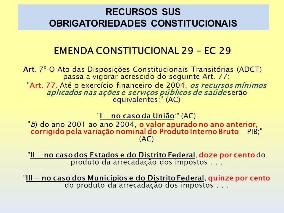 EMENDA CONSTITUCIONAL 29 – EC 29 Art. 7º O Ato das Disposições Constitucionais Transitórias (ADCT) passa a vigorar acrescido do seguinte Art. 77: