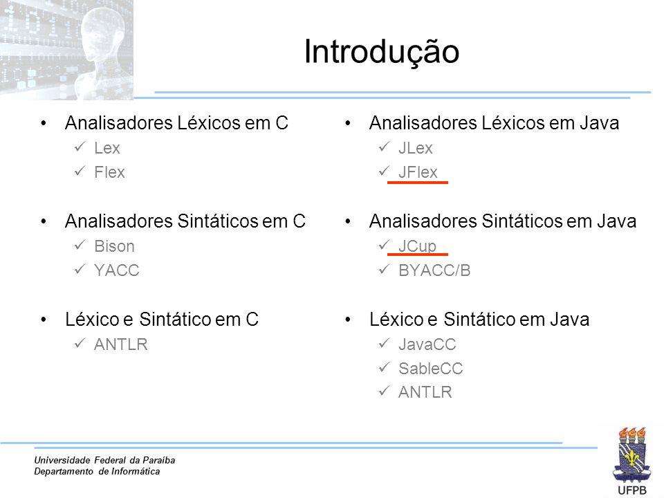 Universidade Federal da Paraíba Departamento de Informática Introdução Analisadores Léxicos em C Lex Flex Analisadores Sintáticos em C Bison YACC Léxi
