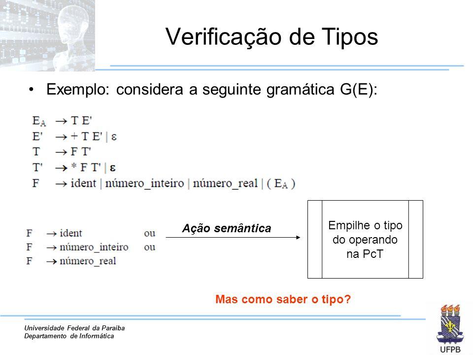 Universidade Federal da Paraíba Departamento de Informática Verificação de Tipos Exemplo: considera a seguinte gramática G(E): Ação semântica Empilhe o tipo do operando na PcT Mas como saber o tipo?