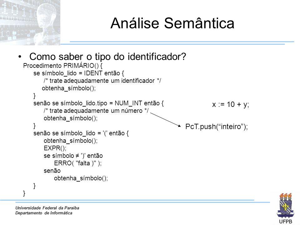 Universidade Federal da Paraíba Departamento de Informática Análise Semântica Como saber o tipo do identificador.