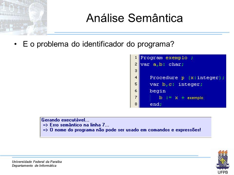 Universidade Federal da Paraíba Departamento de Informática Análise Semântica E o problema do identificador do programa.