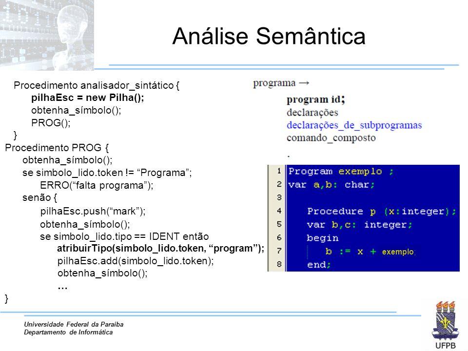 Universidade Federal da Paraíba Departamento de Informática Verificação de Tipos Exemplo (continuação) Ação semântica Operação básica de adição/multiplicação foi reconhecida.