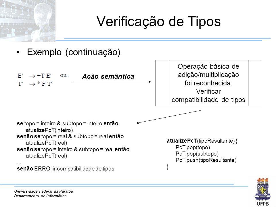Universidade Federal da Paraíba Departamento de Informática Verificação de Tipos Exemplo (continuação) Se a linguagem admite mistura de tipos, como C, todas as possíveis combinações devem ser analisadas.