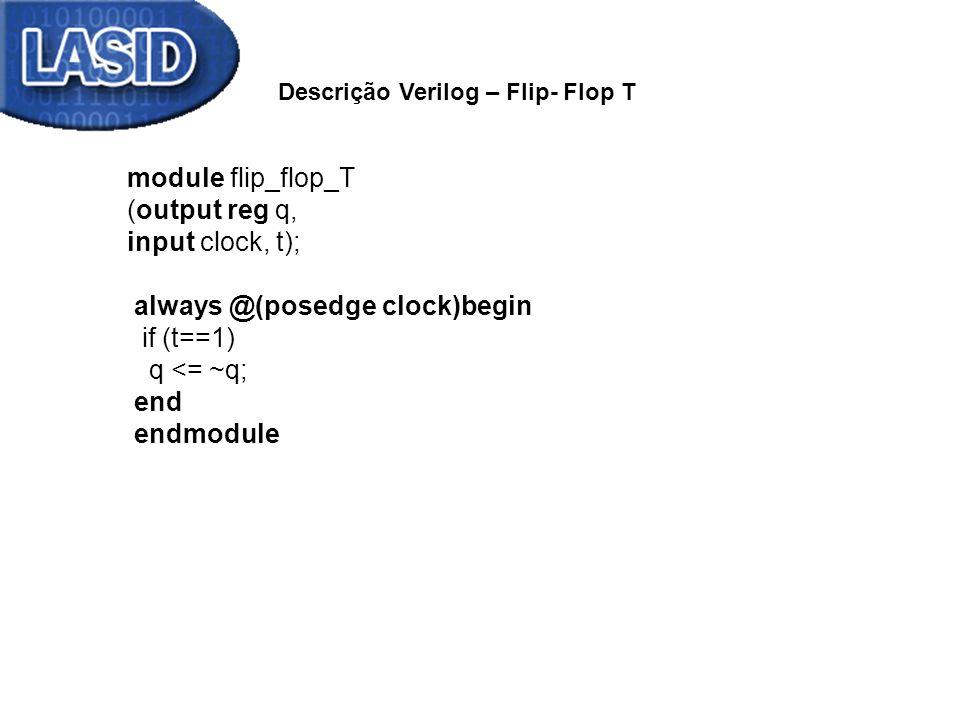 module flip_flop_T (output reg q, input clock, t); always @(posedge clock)begin if (t==1) q <= ~q; end endmodule Descrição Verilog – Flip- Flop T