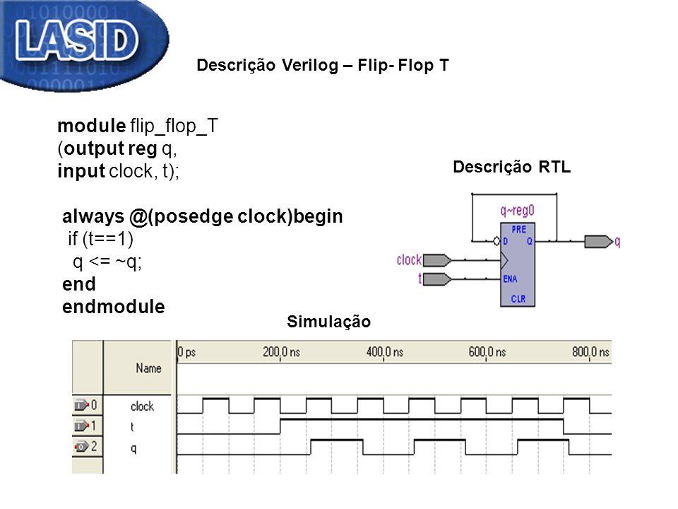 module flip_flop_T (output reg q, input clock, t); always @(posedge clock)begin if (t==1) q <= ~q; end endmodule Descrição Verilog – Flip- Flop T Descrição RTL Simulação