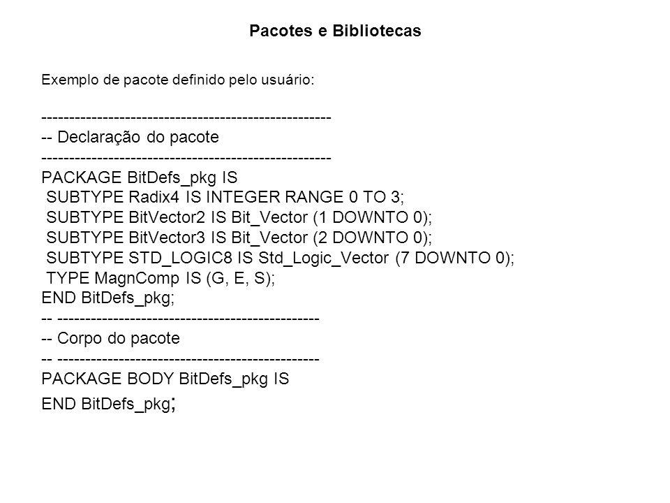 Pacotes e Bibliotecas Exemplo de pacote definido pelo usuário: ---------------------------------------------------- -- Declaração do pacote ----------