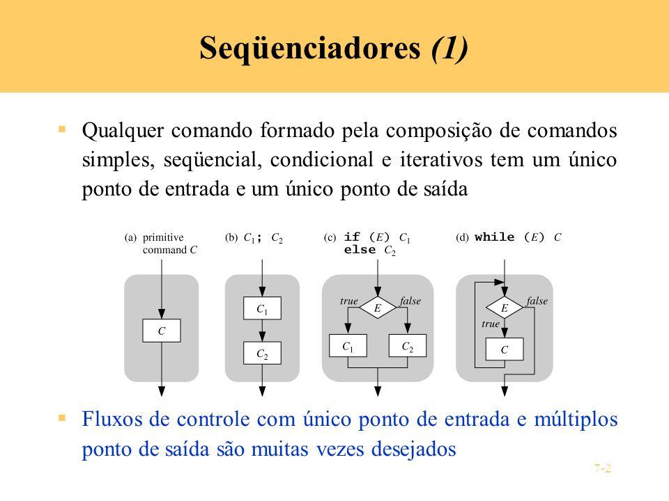 7-2 Seqüenciadores (1) Qualquer comando formado pela composição de comandos simples, seqüencial, condicional e iterativos tem um único ponto de entrad