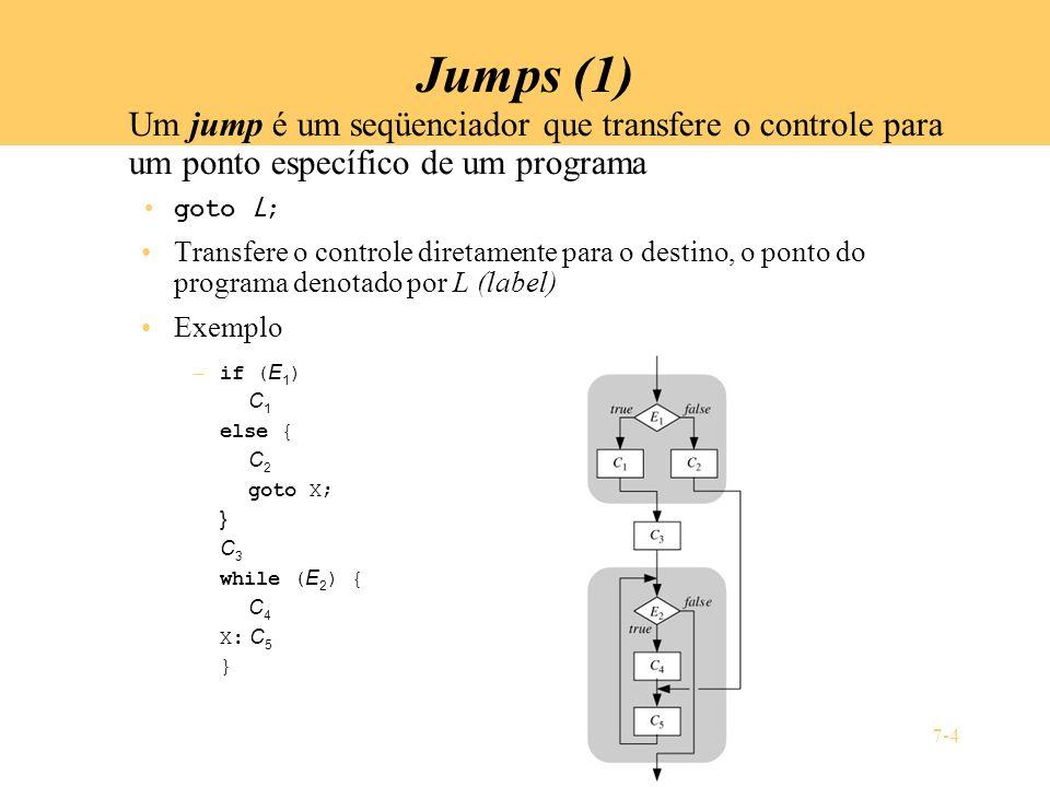 7-4 Jumps (1) Um jump é um seqüenciador que transfere o controle para um ponto específico de um programa goto L ; Transfere o controle diretamente par