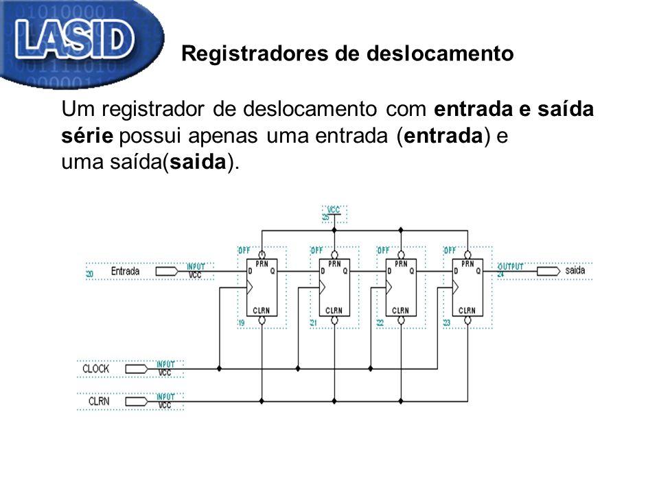 Contador – Descrição Verilog module contador_4bits (output reg [3:0] q, input clock, clrn); always @(posedge clock, negedge clrn) // clrn assíncrono if (~clrn) q <= 0; else q <= q + 1; endmodule