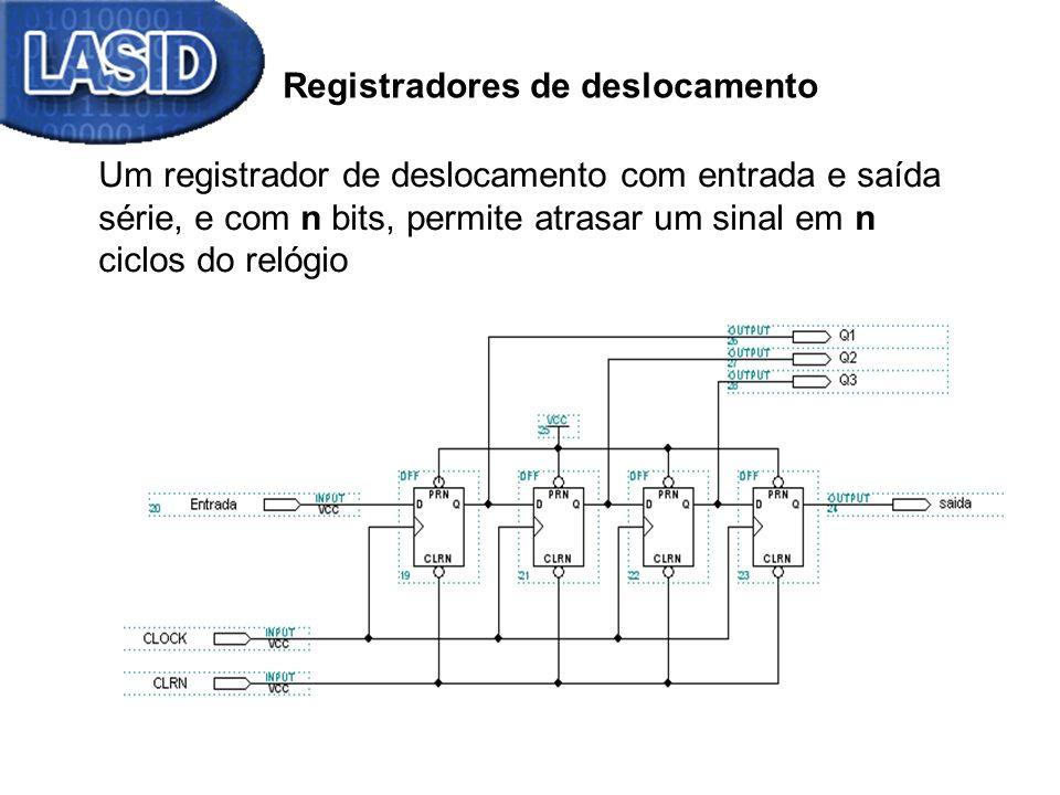 Registradores de deslocamento - Aplicação Circuito divisor (/2 n ) – Deslocamento para a direita 0110011010 410 Decimal n = 1 0011001101 205 Decimal 0 incluído bit perdido