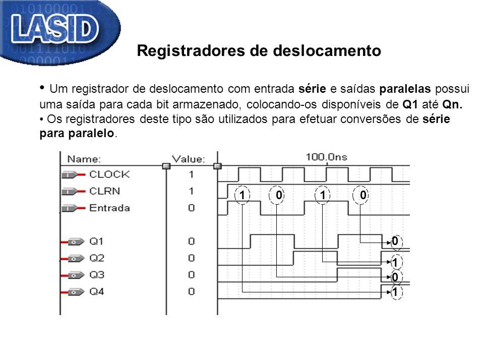 Registradores de deslocamento Um registrador de deslocamento com entradas paralelas e saída série proporciona a conversão de uma informação paralela para serial.
