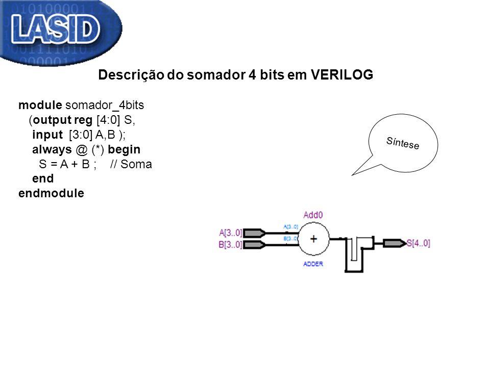 Descrição do somador 4 bits em VERILOG module somador_4bits (output reg [4:0] S, input [3:0] A,B ); always @ (*) begin S = A + B ; // Soma end endmodu