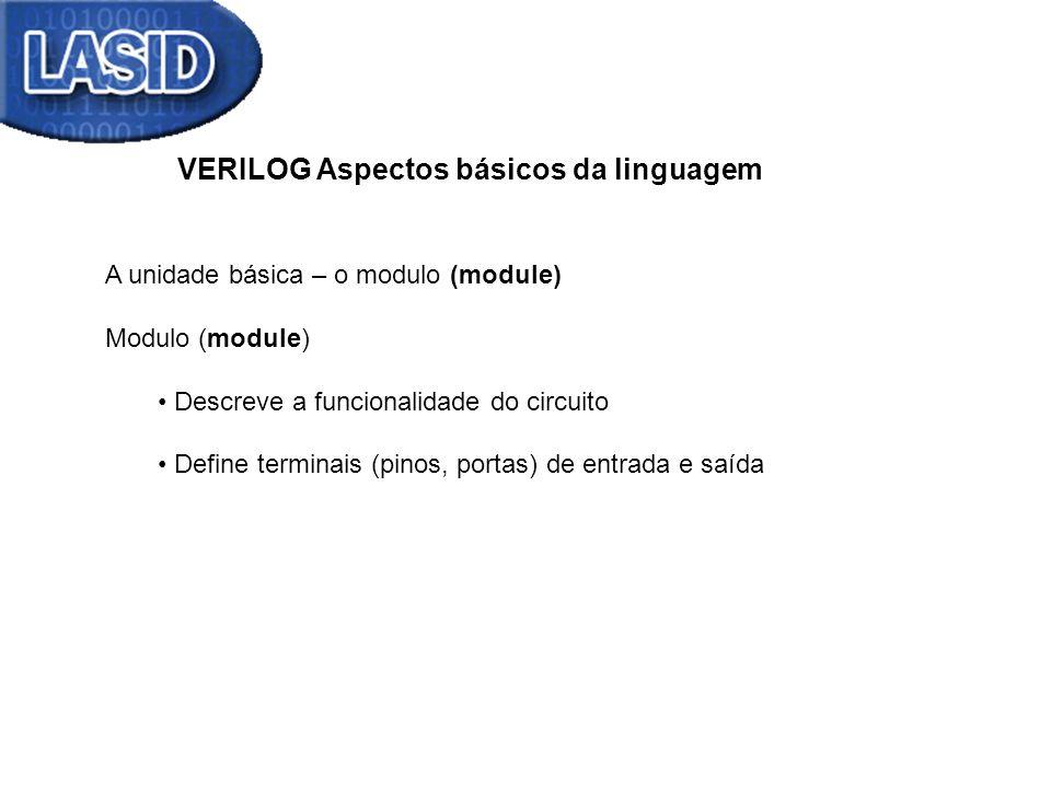 VERILOG Aspectos básicos da linguagem A unidade básica – o modulo (module) Modulo (module) Descreve a funcionalidade do circuito Define terminais (pin