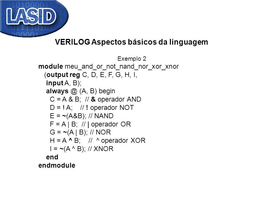 VERILOG Aspectos básicos da linguagem Exemplo 2 module meu_and_or_not_nand_nor_xor_xnor (output reg C, D, E, F, G, H, I, input A, B); always @ (A, B)