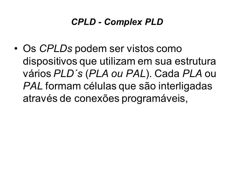 CPLD - Complex PLD Os CPLDs podem ser vistos como dispositivos que utilizam em sua estrutura vários PLD´s (PLA ou PAL). Cada PLA ou PAL formam células
