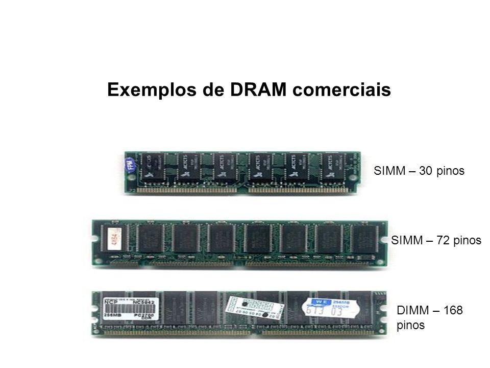 Exemplos de DRAM comerciais SIMM – 30 pinos SIMM – 72 pinos DIMM – 168 pinos