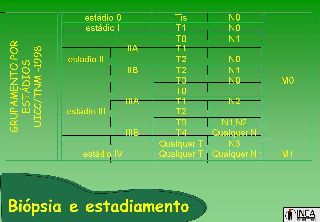 GRUPAMENTO POR ESTÁDIOS UICC/TNM -1998 Biópsia e estadiamento