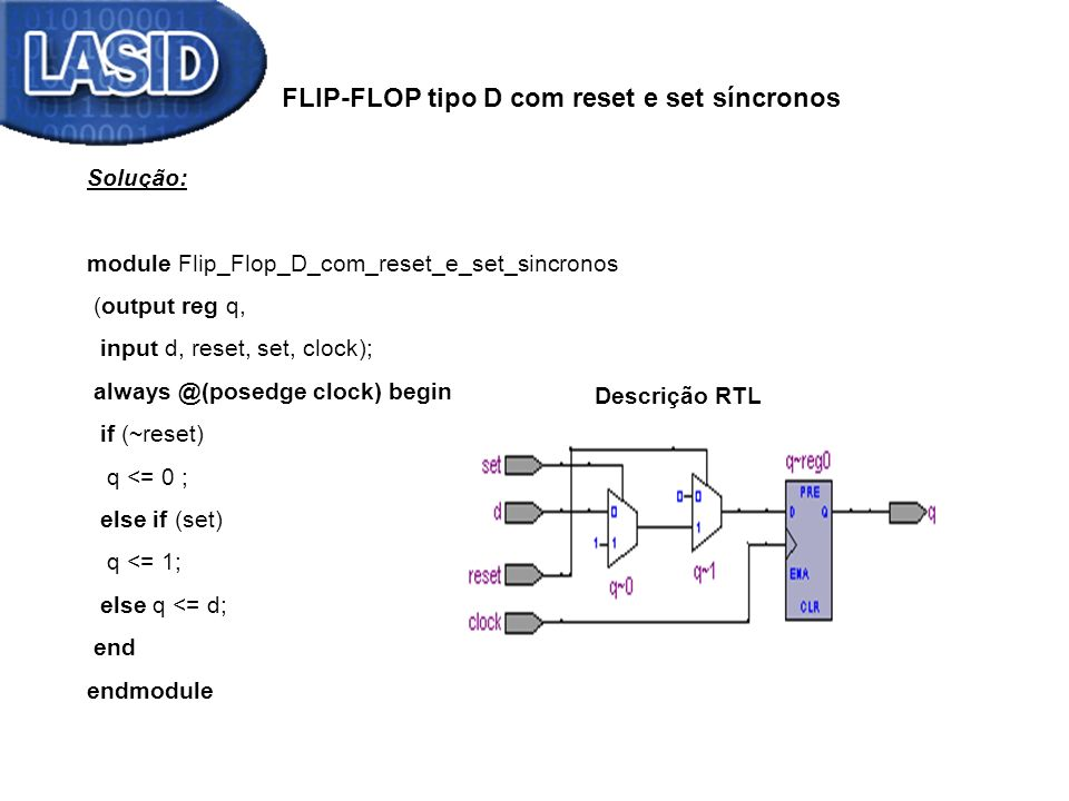 FLIP-FLOP tipo D com reset e set síncronos Solução: module Flip_Flop_D_com_reset_e_set_sincronos (output reg q, input d, reset, set, clock); always @(posedge clock) begin if (~reset) q <= 0 ; else if (set) q <= 1; else q <= d; end endmodule Descrição RTL