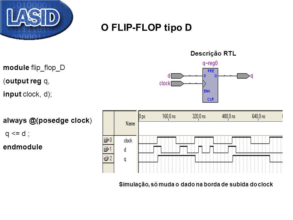 O FLIP-FLOP tipo D module flip_flop_D_borda_de_descida (output reg q, input clock, d); always @(negedge clock) q <= d ; endmodule Descrição RTL Simulação, só muda o dado na borda de descida do clock Descrição RTL