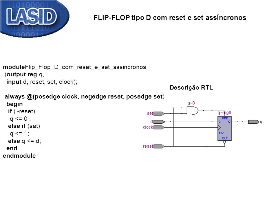 FLIP-FLOP tipo D com reset e set assíncronos Descrição RTL moduleFlip_Flop_D_com_reset_e_set_assincronos (output reg q, input d, reset, set, clock); always @(posedge clock, negedge reset, posedge set) begin if (~reset) q <= 0 ; else if (set) q <= 1; else q <= d; end endmodule Simulação Descrição RTL