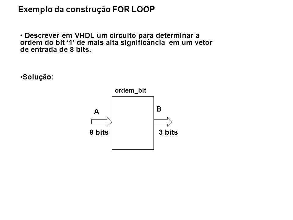 Exemplo da construção FOR LOOP Descrever em VHDL um circuito para determinar a ordem do bit 1 de mais alta significância em um vetor de entrada de 8 b