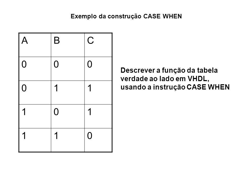 Exemplo da construção CASE WHEN ENTITY exemplo_case IS PORT( A, B : IN BIT; C : OUT BIT ); END exemplo_case; ARCHITECTURE comportamental OF exemplo_case IS SIGNAL auxiliar IS BIT_VECTOR (2 DOWNTO 1); BEGIN auxiliar <= A&B; -- & operador de concatenação PROCESS (auxiliar) BEGIN CASE auxiliar is WHEN 00 => C <= 0; WHEN 11 => C <= 0; WHEN OTHERS => C<= 1; END CASE; END PROCESS; END comportamental; ABC 000 011 101 110 Tabela Verdade