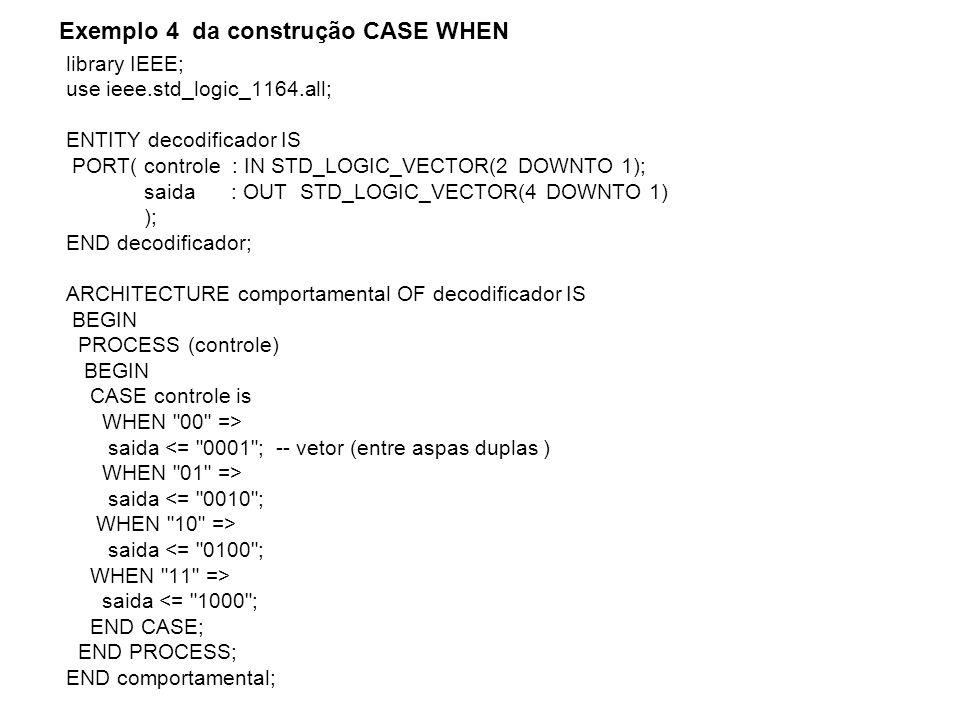 library IEEE; use ieee.std_logic_1164.all; ENTITY circuito_soma IS PORT ( a, b : IN STD_LOGIC; soma : OUT STD_LOGIC_VECTOR (2 DOWNTO 1) ); END circuito_soma; ARCHITECTURE comportamental OF circuito_soma IS SIGNAL auxiliar : STD_LOGIC_VECTOR (2 DOWNTO 1); BEGIN auxiliar <= a&b; PROCESS (auxiliar) BEGIN CASE (auxiliar) IS WHEN 00 => soma <= 00 ; WHEN 01 => soma <= 01 ; WHEN 10 => soma <= 10 ; WHEN 11 => soma <= 11 ; WHEN OTHERS => soma <= 00 ; END CASE; END PROCESS; END comportamental; Síntese do circuito – Descrição RTL e Tecnologia