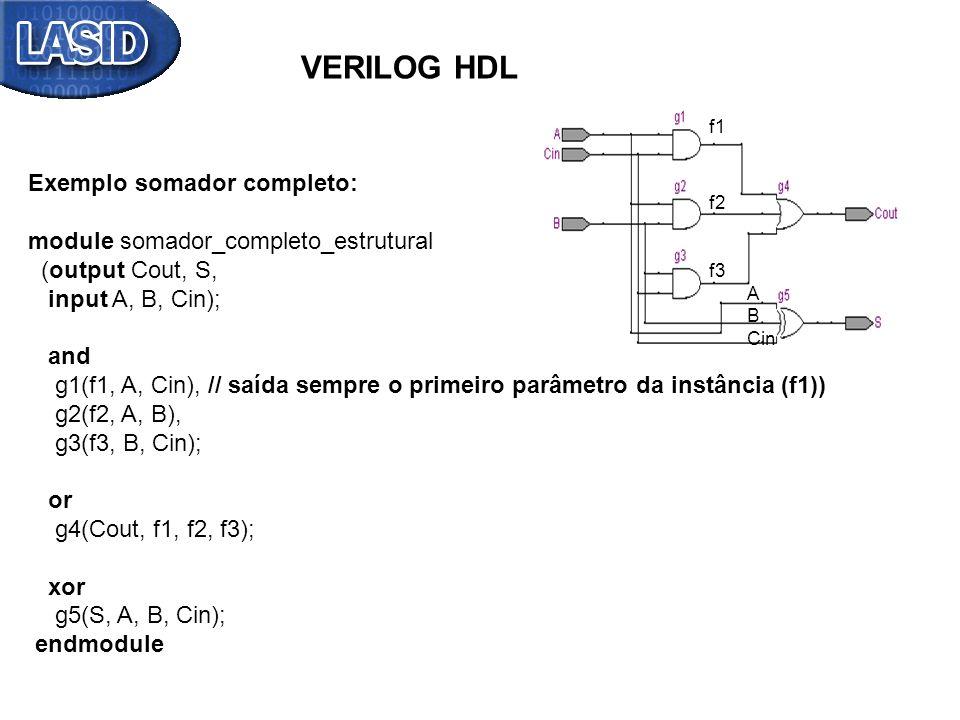 f1 f2 f3 A B Cin VERILOG HDL Exemplo somador completo: module somador_completo_estrutural (output Cout, S, input A, B, Cin); and g1(f1, A, Cin), // sa