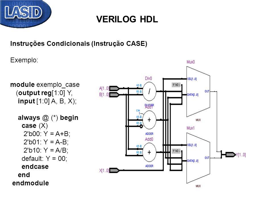 VERILOG HDL Instruções Condicionais (Instrução CASE) Exemplo: module exemplo_case (output reg[1:0] Y, input [1:0] A, B, X); always @ (*) begin case (X