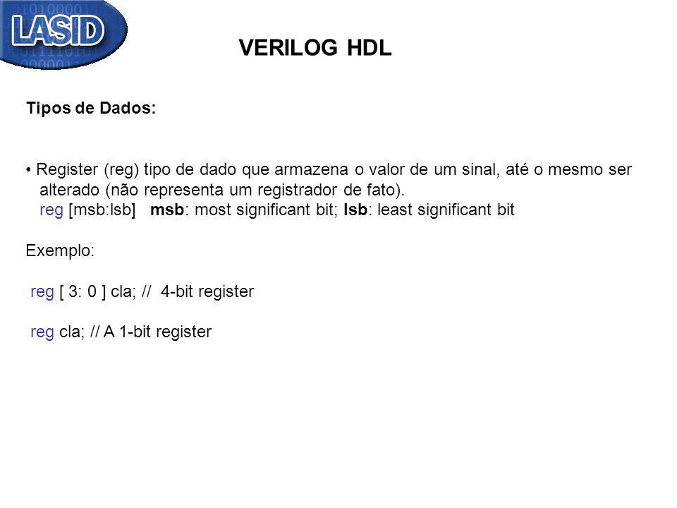 VERILOG HDL Tipos de Dados: Register (reg) tipo de dado que armazena o valor de um sinal, até o mesmo ser alterado (não representa um registrador de f