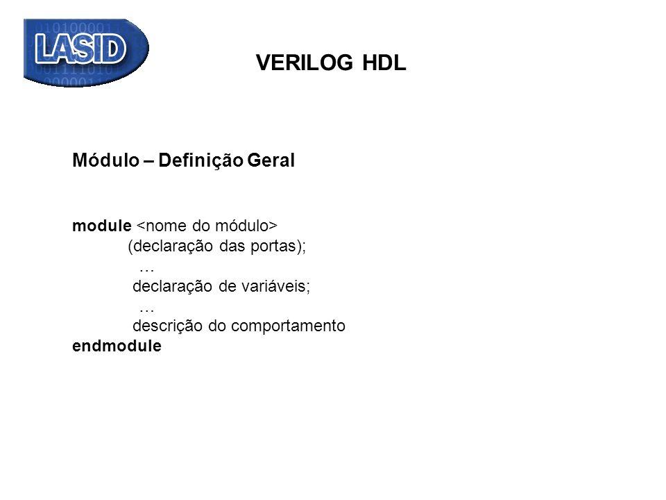 Módulo – Definição Geral module ( declaração das portas ); … declaração de variáveis; … descrição do comportamento endmodule VERILOG HDL Exemplo: module meu_and (output reg C, input A, B); always @ (A, B) begin C = A & B; // & operador AND end endmodule