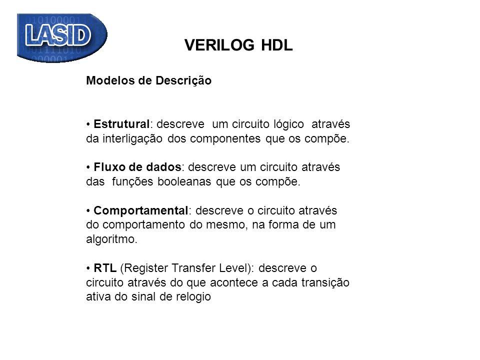 VERILOG HDL Modelos de Descrição Estrutural: descreve um circuito lógico através da interligação dos componentes que os compõe. Fluxo de dados: descre