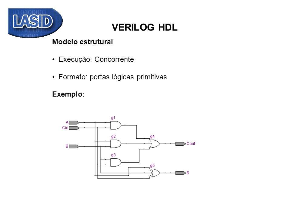 f1 f2 f3 A B Cin VERILOG HDL Exemplo somador completo: module somador_completo_estrutural (output Cout, S, input A, B, Cin); and g1(f1, A, Cin), // saída sempre o primeiro parâmetro da instância (f1)) g2(f2, A, B), g3(f3, B, Cin); or g4(Cout, f1, f2, f3); xor g5(S, A, B, Cin); endmodule