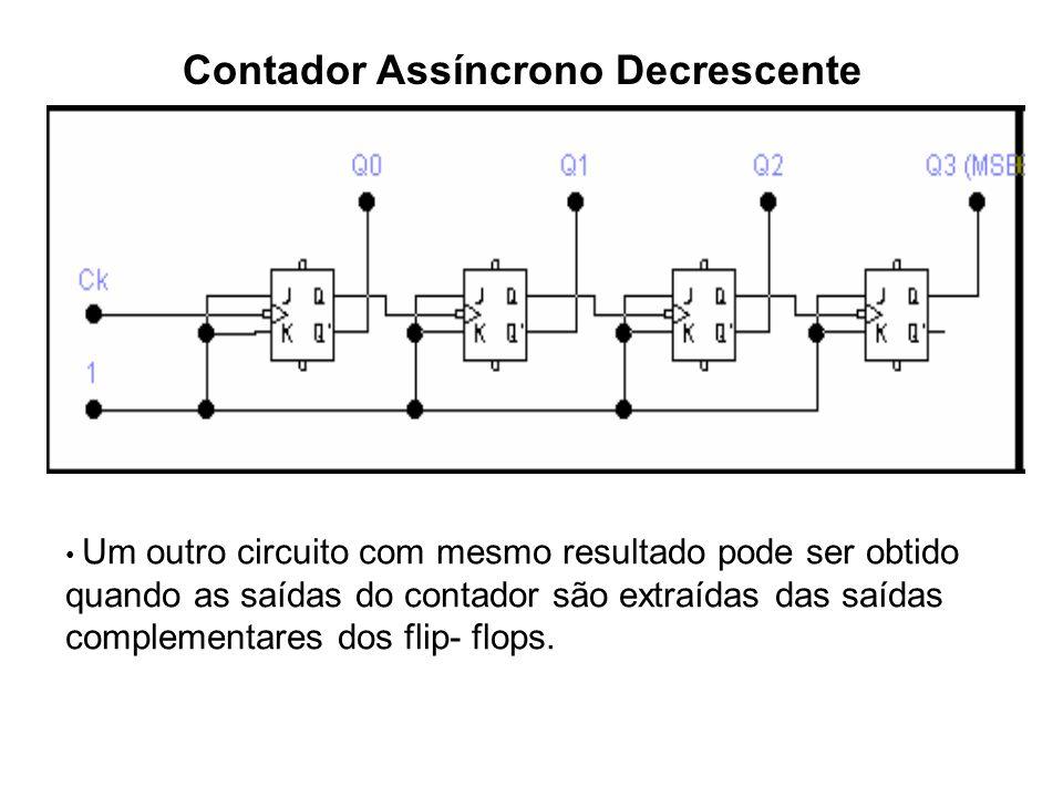 Contador Assíncrono Decrescente Um outro circuito com mesmo resultado pode ser obtido quando as saídas do contador são extraídas das saídas complement