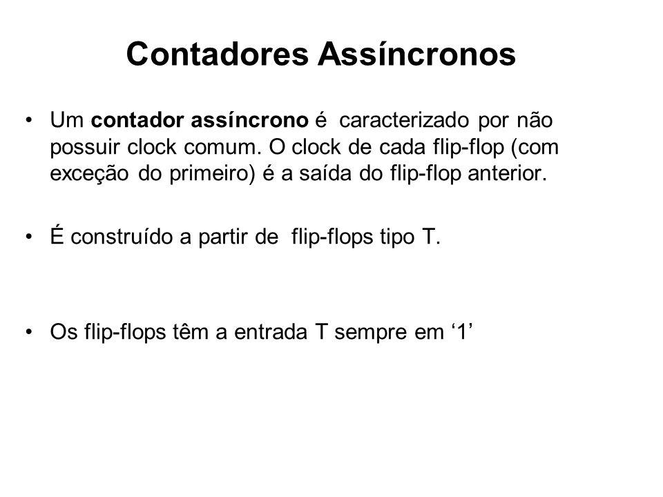 Um contador assíncrono é caracterizado por não possuir clock comum. O clock de cada flip-flop (com exceção do primeiro) é a saída do flip-flop anterio